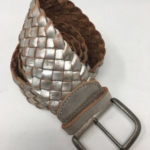 Fossil Silver Distressed Woven Leather Belt Large